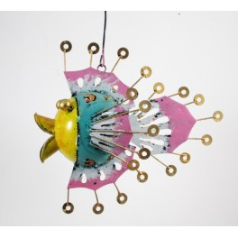 Photophore Poisson jaune bleu rose en metal