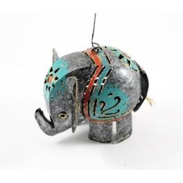 Photophore Eléphant gris et bleu en metal