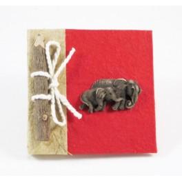 calepin en papier de murier Rouge et son crayon