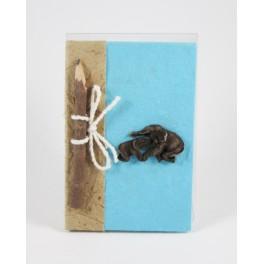 calepin en papier de murier 15x10 Bleu clair et son crayon