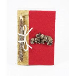 calepin en papier de murier 15x10 rouge et son crayon