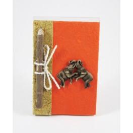 calepin en papier de murier 15x10 orange et son crayon