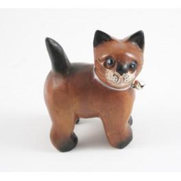 Petit chat sculpté en bois de Suar - N°50