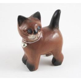 Petit chat sculpté en bois de Suar - N°51