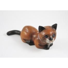 chat couché sculpté en bois de Suar - 9x20