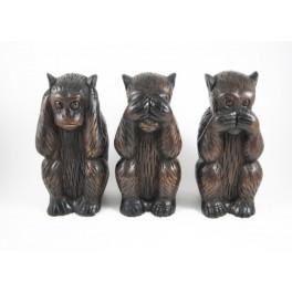 3 Singes noir de la sagesse sculpté en bois de Suar - 21 cm