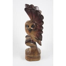 Chouette sur sa branche Sculpté en bois de suar 30x9