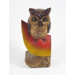 Chouette perchée Sculpté en bois de suar 20x10