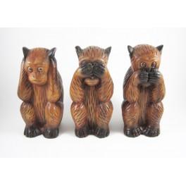 3 Singes de la sagesse sculpté en bois de Suar - 21 cm