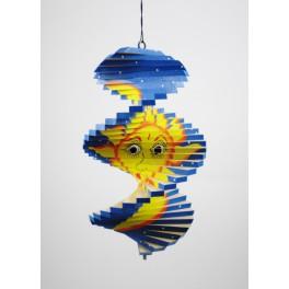 Spirale à vent en bois soleil et lune Bleu - 20x12