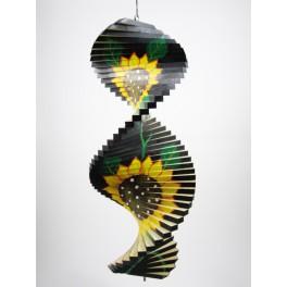 Spirale à vent en bois Tournesol Noir - 40x16