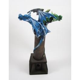 Brule Encens Double Dragon Volant Bleu et Vert