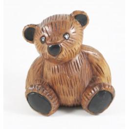 Ourson assis sculpté en bois de Suar 15x14