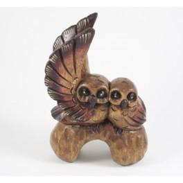 Couple de Chouette sur branche en bois de suar - 18x12