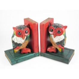 Serre-Livres Chouette colorés en bois de suar - HB024