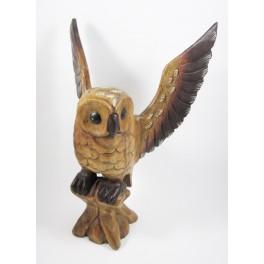 Chouette sur sa branche Sculpté en bois de suar - 40x30