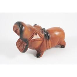 Hippopotame sculpté en bois de Suar - 16x11