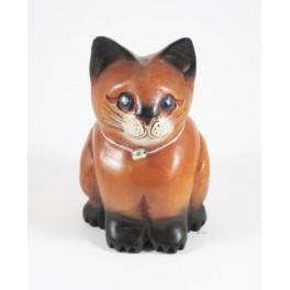 chat assis sculpté en bois de Suar - 15x9