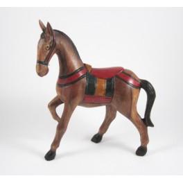 Cheval au Pas sculpté en bois de Suar 26x20 (Droit)