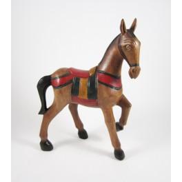 Cheval au Pas sculpté en bois de Suar 26x20 (Gauche)