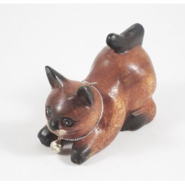 Petit chat sculpté en bois de Suar - N°54