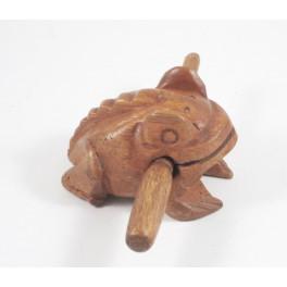 Crapaud musicale sculpté en bois de Suar - 10x7