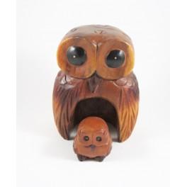 Chouette et son petit sculpté en bois de Suar - 19x14