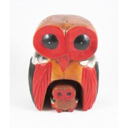 Chouette colorée et son petit sculpté en bois de Suar - 19x14