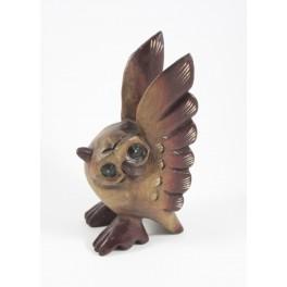 Hiboux Sculpté en bois de suar -20x11