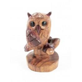 Hiboux Sur Branche Sculpté en bois de suar - 14x8