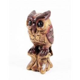 Hiboux Sur Branche Sculpté en bois de suar - 13x5
