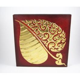Tableau Feuille de Bouddha Rouge/noir et Or gauche - 30X30