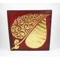 Tableau Feuille de Bouddha Rouge/noir et Or droit - 30X30