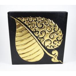 Tableau Feuille de Bouddha Noir et Or gauche - 30X30