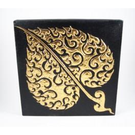 Tableau Feuille de Bouddha Noir et Or Gauche - 30X30 - TB012