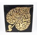 Tableau Feuille de Bouddha Noir et Or Droit - 30X30 - TB013
