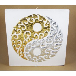 Tableau Ying Yang Blanc et Or / Argent - 30X30 - TB015