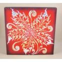 Tableau Fleur Rouge/Noir et Or / Argent - 30X30 - TB016