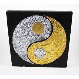 Tableau Ying Yang Noir et Or / Argent - 30X30 - TB017