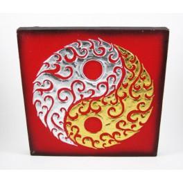 Tableau Ying Yang Rouge/Noir et Or / Argent - 30X30 - TB018