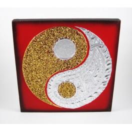 Tableau Ying Yang Rouge/Noir et Or / Argent - 30X30 - TB019