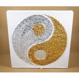Tableau Ying Yang Blanc et Or / Argent - 30X30 - TB022