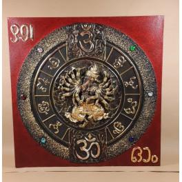 Tableau Ganesh Rouge/Noir et Or - 60x60 - TB028