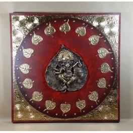 Tableau Ganesh Rouge/Noir et Or - 60x60 - TB030