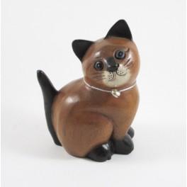 Chat assis Gauche sculpté en bois de Suar - 15x11