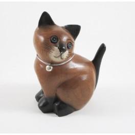 Chat assis Droit sculpté en bois de Suar - 15x11
