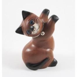 Chat debout Gauche sculpté en bois de Suar - 16x9