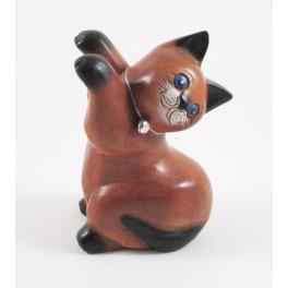 Chat debout Droit sculpté en bois de Suar - 16x9