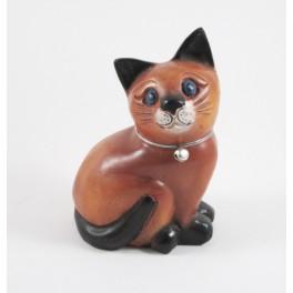Chat assis Gauche sculpté en bois de Suar - 15x10