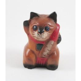 Petit chat sculpté en bois de Suar - N°55